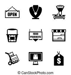 vector, tienda, icono, conjunto