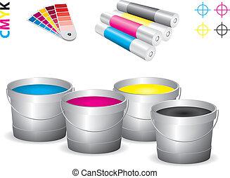 vector, tienda impresión, icono, conjunto, -, cmyk
