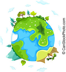 vector, tierra, ilustración