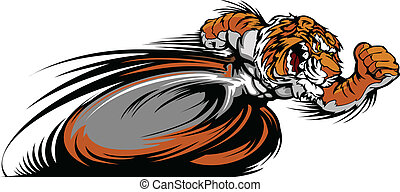 vector, tiger, mascotte, grafisch, het snelen