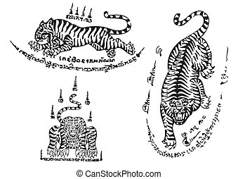 Tiger traditional thai art Tattoo - Vector Tiger traditional...