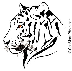 Vector Tiger - Vector tiger in the form of a tattoo