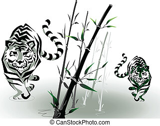 vector tigers in bamboo
