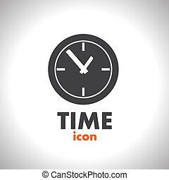 vector, tijd, pictogram, klok