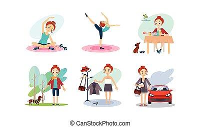 vector, tijd, wandelende, etende vrouw, werken, dog, illustratie, morgen, sporten, gaan, routine, alledaags, achtergrond, meisje, witte , doiing, ontbijt