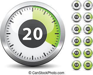 vector, tijdopnemer, -, gemakkelijk, veranderen, tijd, elke,...