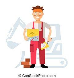 Vector Tiler Flat style colorful Cartoon illustration.