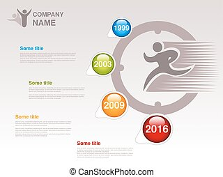 Vector timeline. Infographic template for company. Timeline with colorful milestones - blue, green, orange, red. Pointer of individual years. Graphic design with clock and fast runner. Profile of company.