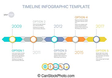 Vector timeline infographic template history of your company