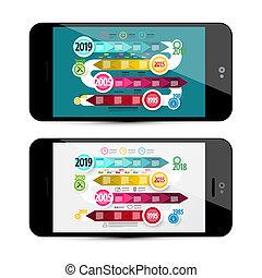 Vector Timeline Infographoc on Mobile Phone Screen. Online Infographics Design.