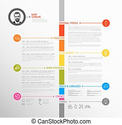 colorful resume cv template with timeline colorful modern