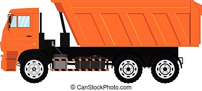 Vector Tipper truck. Dump vehicle. Isolated on white background.