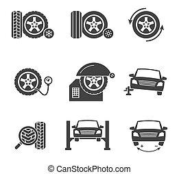 Vector tire wheel service black icons set. Automobile ...