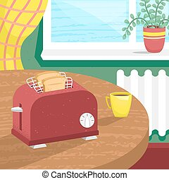 Vector toaster in isometry with pieces of bread in the cozy room. Interior with a toaster.