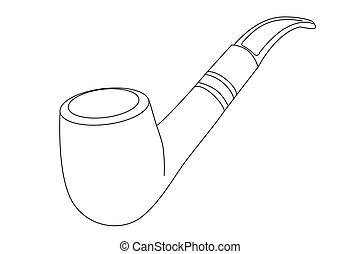 vector tobacco pipe - vector outline tobacco pipe on white...