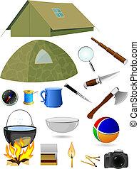 vector, toerist, verzameling, accessoires