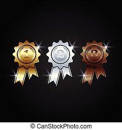 vector, toewijzen, medailles