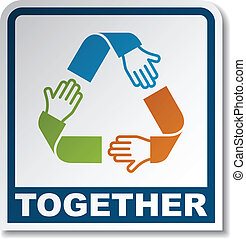 vector together circular hands sticker