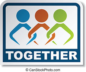 separate people. vector together joined people sticker separate s