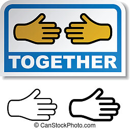 vector together shake hands sticker