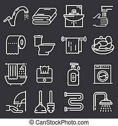 Vector toilet and bathroom icons set