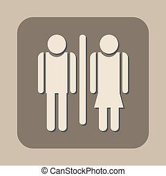 vector, toilet, vrouw, pictogram, man