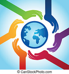 Vector tolerance concept - hand icons and globe in rainbow ...