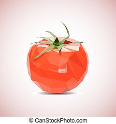Vector tomato background. Low-poly style