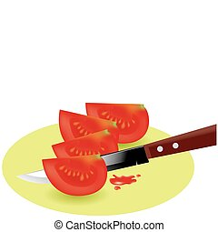 vector tomato slices and kitchen knife