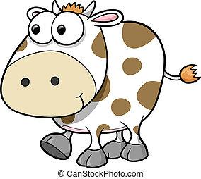 vector, tonto, vaca, animal