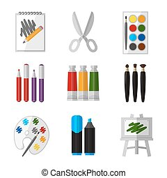 Vector tool set for artist in flat design style