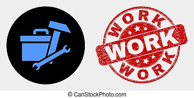 Vector Toolbox Icon and Distress Work Seal