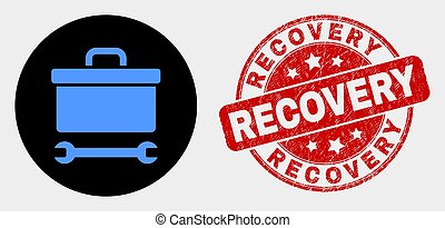 Vector Toolbox Wrench Icon and Scratched Recovery Watermark
