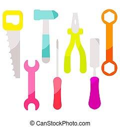 Vector tools equipment icon set.