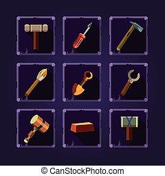 vector, tools., set, spotprent, hand