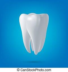 Tooth, 3D render. Dental, medicine and health concept design element. Vector EPS10 illustration.