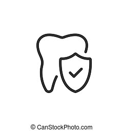 Vector tooth and shield with check mark icon. Dental insurance, dental care concepts. Vector line icon