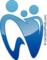 Vector tooth for family dental care icon symbol