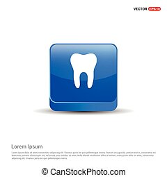 Vector Tooth Icon - 3d Blue Button