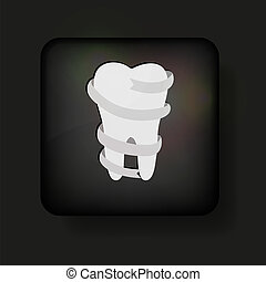 Vector tooth icon on black. Eps10