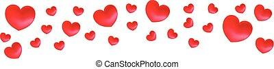 Vector top border with red hearts. Valentine day red hearts.