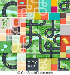 Vector Top View City Map with Roads and Cars on Strets