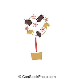 Vector topiary tree - Vector hand drawn isolated element, ...