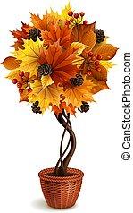 Vector topiary tree - Vector illustration - autumn ...