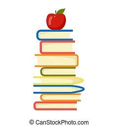 vector., topp, stack, utbildning, bakgrund, concept., vit, äpple, böcker, illustration