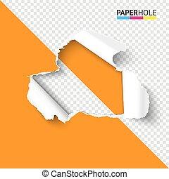 Torn paper hole on half transparent background colorful concept for sale promo. Vector illustration