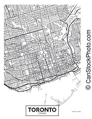 vector, toronto, ciudad, detallado, mapa, cartel