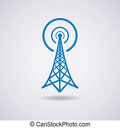 vector, torre de radio, transmisión, icono