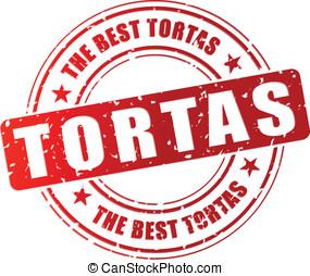 Vector tortas stamp - Vector illustration of best tortas red...