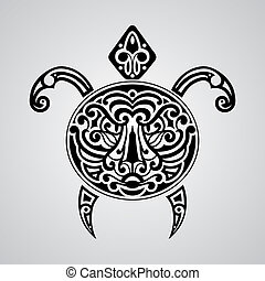 vector tortoise with tiger face on its shell, tattoo sketch,...